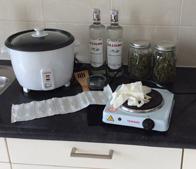 Supplies for preparing cannabis oil.